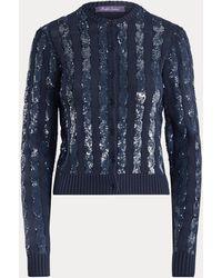 Ralph Lauren Cardigan en soie à sequins - Bleu
