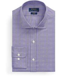 Ralph Lauren Slim Fit Plaid Oxford Shirt - Purple