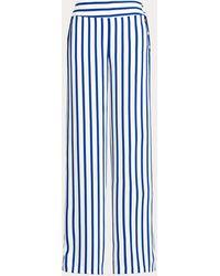 Ralph Lauren Striped Satin Wide-leg Trouser - Blue