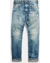 RRL Jean slim à lisière selvedge - Bleu