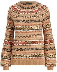 Lauren by Ralph Lauren - Fair Isle Cotton-blend Sweater - Lyst