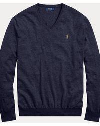 Polo Ralph Lauren Pull cintré à col en V en coton - Bleu