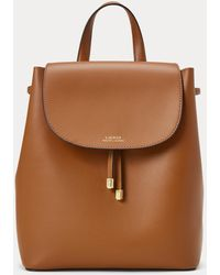 Ralph Lauren Drawstring Leather Backpack - Brown