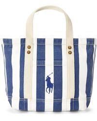 Ralph Lauren - Striped Canvas Small Tote - Lyst