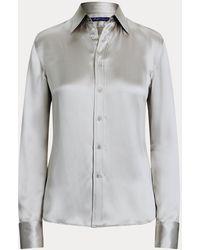 Ralph Lauren Collection Camisa De Satén De Seda Woodson - Gris