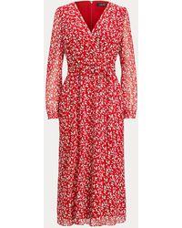 Ralph Lauren Vestido De Georgette Con Estampado - Rojo