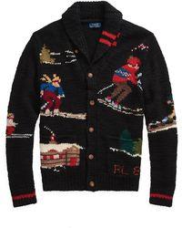 Polo Ralph Lauren Cardigan skieur tricoté à la main - Noir