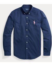 Ralph Lauren Camisa Oxford Slim Fit Pink Pony - Azul