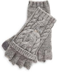 Ralph Lauren Cable-knit Pop-top Gloves - Gray