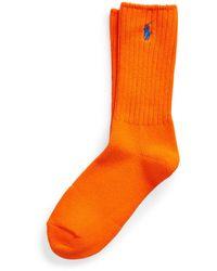 Ralph Lauren Embroidered Pony Crew Socks - Orange