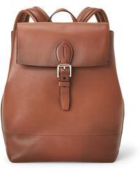 Ralph Lauren Purple Label Burnished Calfskin Voyager Backpack - Brown