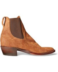 RRL Plainview Suede Chelsea Boot - Brown