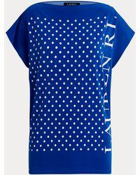 Ralph Lauren Top De Punto Con Logotipo Y Lunares - Azul