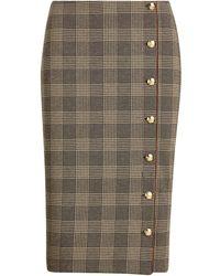 Ralph Lauren Button-trim Glen Plaid Skirt - Brown