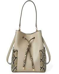 Ralph Lauren Leather Debby Drawstring Bag - Natural