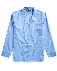Ralph Lauren Signature Pony Pajama Shirt - Blue