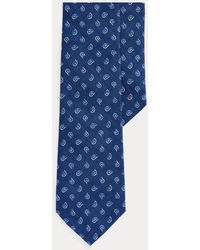 Polo Ralph Lauren Cravate étroite en lin motif pins - Bleu