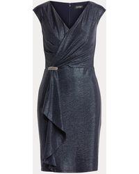 Ralph Lauren Vestido De Cóctel De Punto Con Volantes - Azul