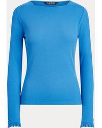Ralph Lauren Ruffle-Trim Stretch Cotton Top - Bleu