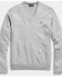 Ralph Lauren Maglia in lana merino con scollo a V - Grigio