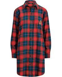 Ralph Lauren Plaid Cotton Twill Sleep Shirt - Red