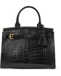 Ralph Lauren Alligator Medium Rl50 Handbag - Black