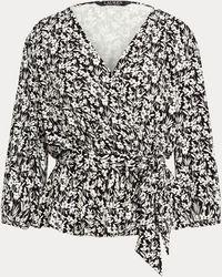 Ralph Lauren Blouse cache-cœur fleuri à basque - Noir