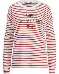 Ralph Lauren - Logo Striped Terry Sweatshirt - Lyst