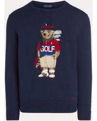 Ralph Lauren Pullover aus Baumwollmischung mit Golf Bear - Blau