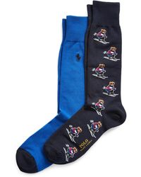 Polo Ralph Lauren Chaussettes motif poney sur l'ensemble - Bleu