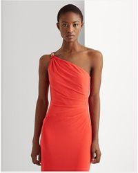 Ralph Lauren Vestido Largo De Punto Con Hombro Descubierto - Rojo