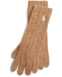 Polo Ralph Lauren Cable-knit Wool-blend Gloves - Natural