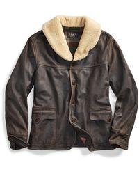 Ralph Lauren Shearling-collar Leather Coat - Black