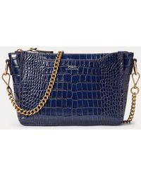 Polo Ralph Lauren Tracolla Sloane mini goffrata - Blu