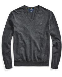 Ralph Lauren Cotton V-neck Sweater - Gray