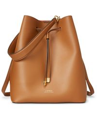 Ralph Lauren Leather Debby Drawstring Bag - Brown
