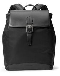Ralph Lauren Purple Label Voyager Calfskin-trim Twill Backpack - Black