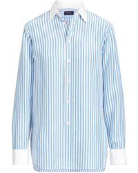 376f493f616b4 Lyst - Polo Ralph Lauren Camo Silk Georgette Shirt in Blue