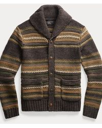 RRL Striped Mixed-knit Cardigan - Brown