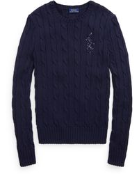 Polo Ralph Lauren Beaded-pony Cable-knit Sweater - Blue