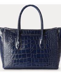 Ralph Lauren Bolso Satchel Sloane Mediano Repujado - Azul