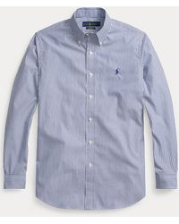 Polo Ralph Lauren Camisa De Popelina A Rayas Slim Fit - Azul