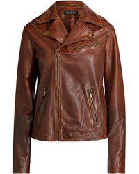 Ralph Lauren - Tumbled Leather Moto Jacket - Lyst