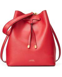 Ralph Lauren Leather Debby Drawstring Bag - Red