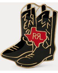 RRL Cowboy Boot Enamelled Badge - Metallic