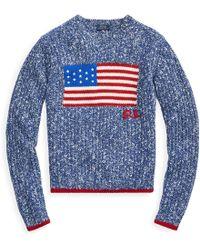 Polo Ralph Lauren Flaggen-Pullover aus Wollmischung - Blau