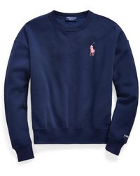 Ralph Lauren Pink Pony Fleece Crewneck Sweatshirt - Blue
