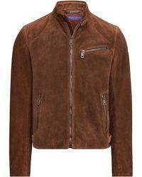Ralph Lauren Randall Suede Biker Jacket - Brown