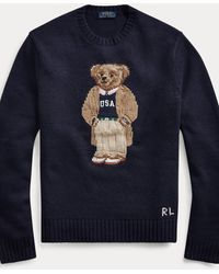 Polo Ralph Lauren Pull homme Bear siglé en laine et cachemire - Bleu