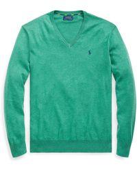 Ralph Lauren Cotton V-neck Sweater - Green